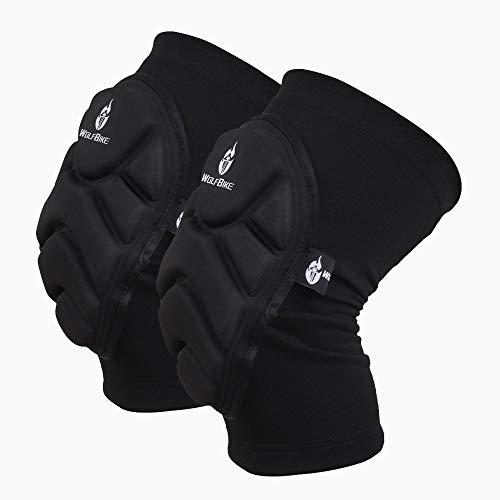 "Wolfbike Tactical Knee Pads Skiing Goalkeeper Soccer Football Volleyball Extreme Sports Protective Kneepads Black (M (Thigh 11-15""))"