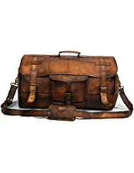 Leather Flap Weekend Duffel Travel Cabin Holdall Gym Sports Luggage 22 inch