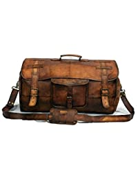"24"" Men's Genuine Leather Vintage Duffle Gym Large Travel Weekend Luggage Bag"