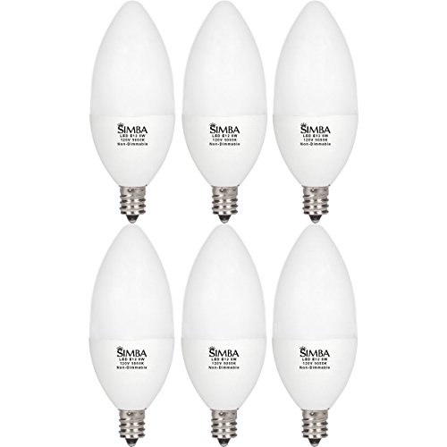 Chandelier Accents Light Six ([6 Pack] Simba Lighting LED Candle Shape 6W 550lm 60W Incandescent Equivalent 180° Beam Angle 120V for Ceiling Fan, Chandelier, B11 Candelabra E12 Base, PC Cover, Non-Dimmable, Daylight 5000K)