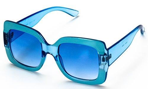 Oversized Elite Square Cute Luxury Sunglasses Gradient Lens Vintage Women Fashion Glasses (Blue)
