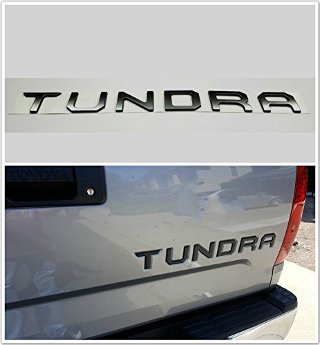 MAX WHOLESALE Metal Tundra 2014 2015 2016 2017 Matte Black/Silver Chrome Tailgate Letters Insert Tailgate Badge Sticker For Toyota Tundra (Flat ()