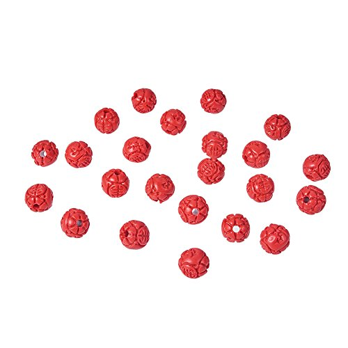 Carved Flower Beads - NBEADS 100Pcs 8mm Red Cinnabar Beads, Round Flower Bud Loose Beads Charms Beads fit Bracelets Necklace Jewelry Making