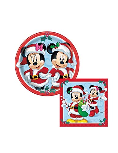 Theme Mickey & Minnie Merry Christmas Paper Plates and Napkins Party Pack - Serves 16