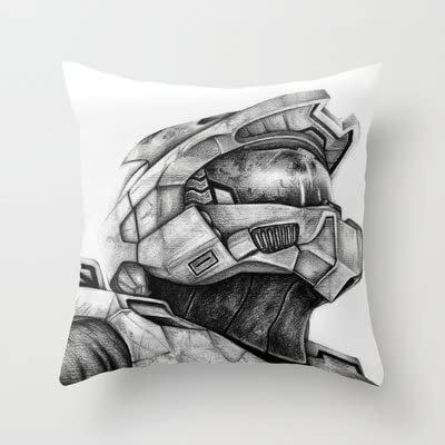 Amazon Com Society6 Master Chief Halo Throw Pillow By Denda Reloaded Kitchen Dining