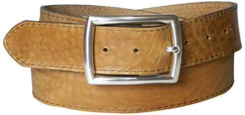 FRONHOFER Topstitched natural leather belt, vegetable tanned, silver-plated buckle, Size:waist size 37.5 IN L EU 95 cm, Color:Natural by Fronhofer