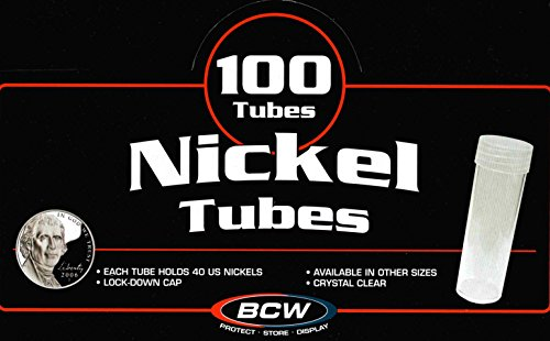 Coin Storage Tubes, Round Clear Plastic w/ Screw on Tops for NICKEL (Quantity of 100 Tubes) - MADE IN THE ()