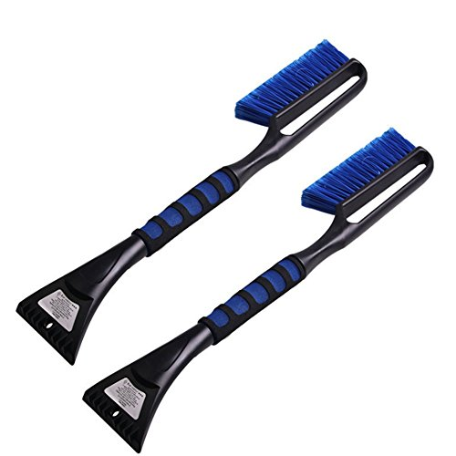 XHSP Auto Car Snow Brush Ice Scraper Snow Ice Removal Tools with Long EVA Handle,2PCS