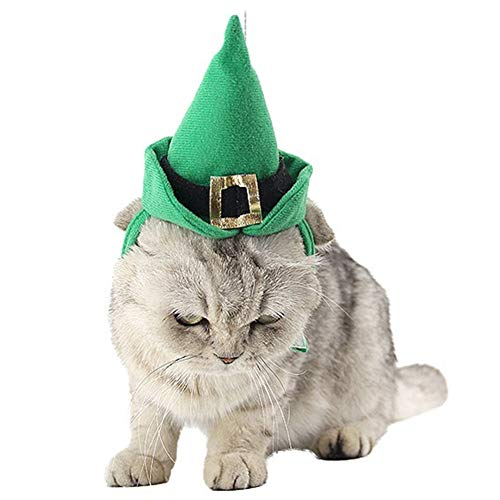 NACOCO Cat Cap with Collar Dog Christmas Costume Necklace for Cat and Small Dogs Saint Patrick Green Suit 2pc