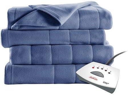 Heated Blanket Sunbeam Fleece Electric Twin Size Dark Blue Color NEW
