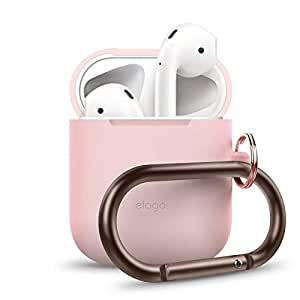 Elago Silicone Hang Case Compatible with Apple AirPods 1 & 2 (Front LED Not Visible) - [Extra Protection] [Added Carabiner] - Lovely Pink