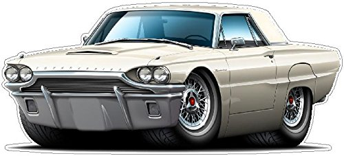 (1964 Ford Thunderbird WALL DECAL 2ft long Tbird Vinyl Decals Stickers for Boys Cars Old Mens Bedroom Garage Man Cave Home Decor)
