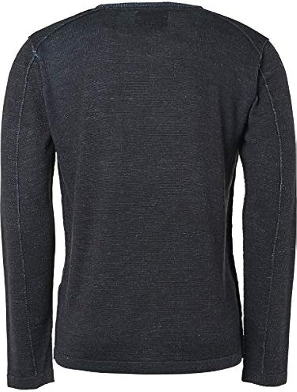 NO EXCESS męski sweter sweter okrągły dekolt platerowany z zawartością wełny, kolor: niebieski , rozmiar: xl: Odzież