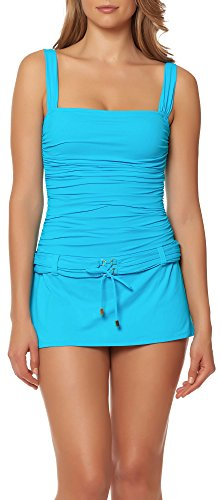Bleu Rod Beattie Women's Cruise Control Solid Skirted Floating Underwire Belted One Piece Swimsuit, Aqua Breeze, 12