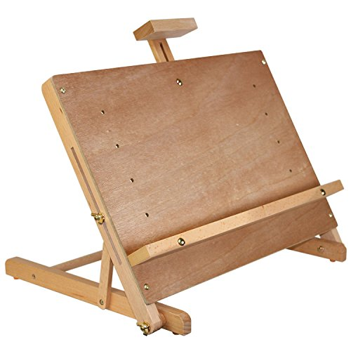 U.S. Art Supply Solid Studio Adjustable Wood Tabletop Artist Easel (Display Watercolor)