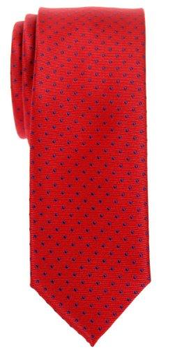 (Retreez Modern Mini Polka Dots Woven Microfiber Skinny Tie - Red with Navy Blue)