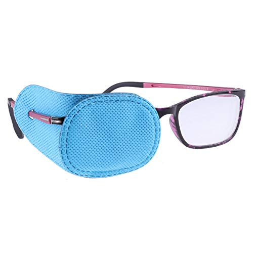 IEFIEL Kids Non-adhesive Amblyopia Eye Patch Glasses Cover Treat Lazy Eye and Strabismus Blue One -