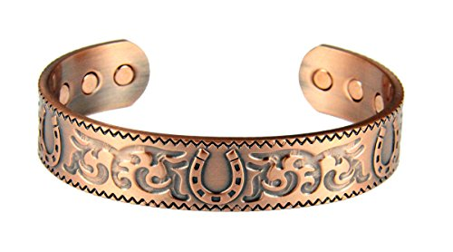 Horseshoe Magnetic Bracelet - 4031732 Solid Copper Magnetic Cuff Bracelet Bangle Horseshoe Equine Design Balance Strength Health Equestrian Health Balance