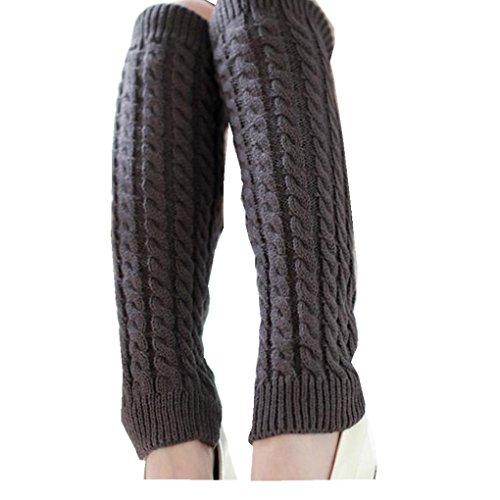 Leg Warmers,Haoricu Fashion Women Winter Warm Leg Warmers Knitted Crochet Long Socks (Grey)
