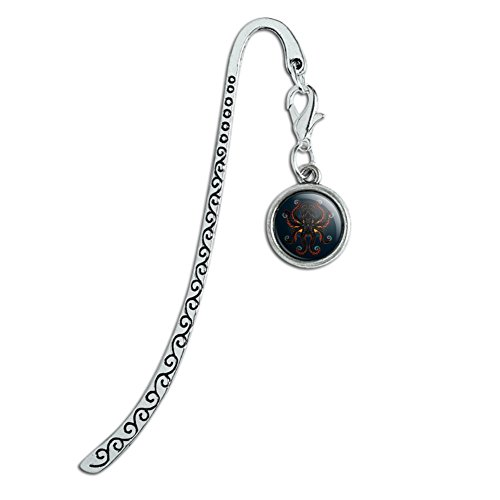Black Octopus in the Abyss Metal Bookmark Page Marker with Charm (Apparel Abyss)