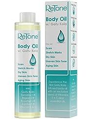 ReTone Body Oil: Non-greasy finish - Infused with Gotu Kola - No mess dispenser - Tamanu oil + Argan Oil + Rosehip Oil + Jojoba Oil + Vitamin E C (dry skin, uneven skin tone, pregnancy)