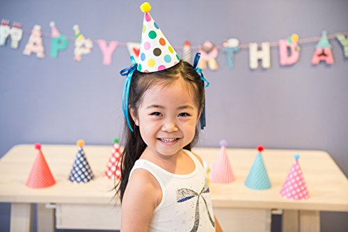 Fun and Colorful Gold Foiled Happy Birthday Banner Flags and Kids Party Hats and Crowns Set - Party Decoration Supplies