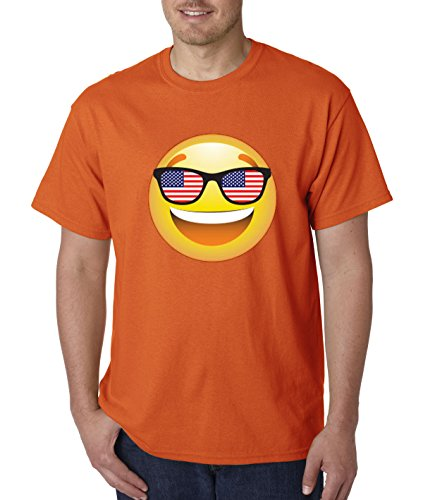 T-Shirt Emoji Smiley Face USA American Flag Sunglasses 4th July 4XL Orange ()