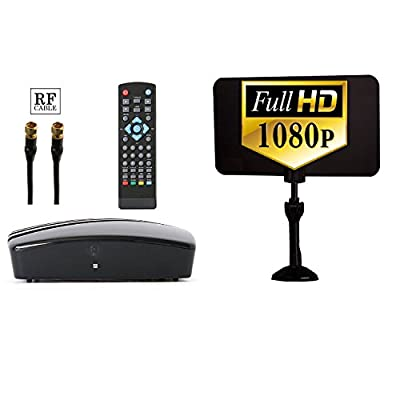 Digital TV Converter Box + Digital Antenna + RF and RCA Cable - Complete Bundle to View and Record HD Channels FREE (Instant or Scheduled Recording, 1080P HDTV, HDMI Output And 7 Day Program Guide) by eXuby®