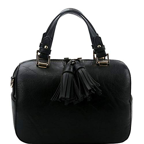 Double Tassel Accent 2-Way Boston PU Leather Satchel Purse