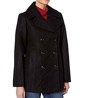 LONDON FOG Women's Double Breasted Peacoat with Scarf: Clothing