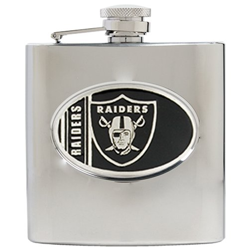 (Great American Products Personalized NFL Oakland Raiders 8oz stainless steel Flask- Free Engraving)