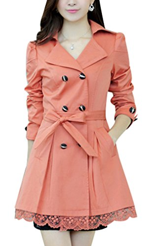 Yasong Women's Girls' Slim Fitted Floral Lace Belted Double Breasted Autumn Jacket Trench Coat Coral