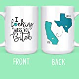 I F*cking Miss You Bitch - Long Distance Friendship Gifts - State Mugs - Moving Away - 15 oz. Coffee...