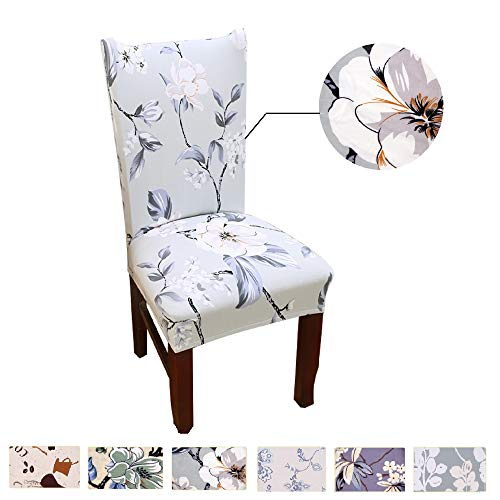 Argstar 2 Pack Chair Covers, Stretch Armless Chair Slipcover for Dining Room Seat Cushion, Spandex Kitchen Parson Chair Protector Cover, Removable & Washable, Spring Flower Design