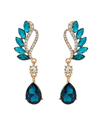 Women's Evening Gala Prom Bridal Wedding Pierced Earrings - Greek Goddess, Blue Topaz