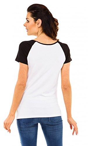 Zeta Ville - Camiseta Premamá estampado bebé mangas largas - para mujer - 502c Bebé Diablillo - Blanco