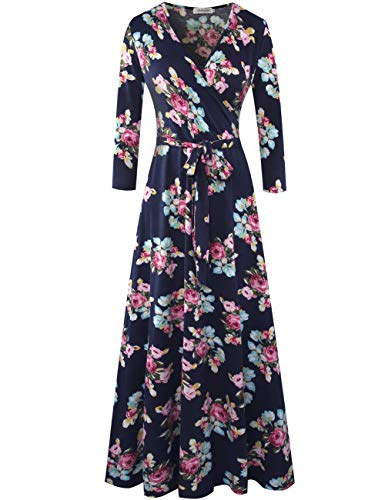Aphratti Women's 3/4 Sleeve Faux Wrap V Neck Floral Vintage Long Maxi Dress X-Large Floral-Navy