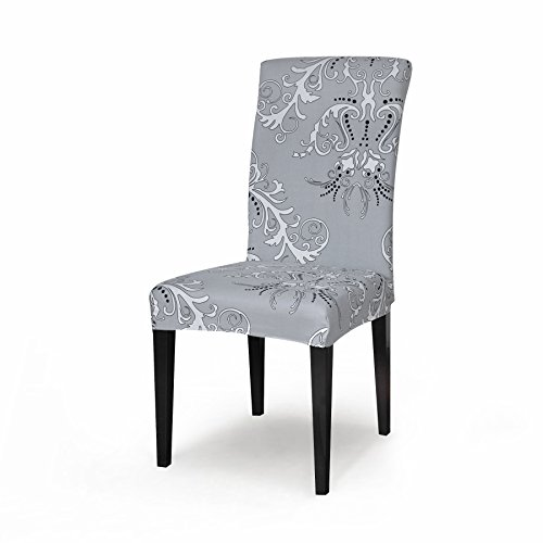 TIKAMI 1PCS Spandex Printed Fit Stretch Dinning Room Chair Slipcovers (1, Gray) (Grey Slipcover Chair Wingback)