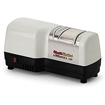 Chef's Choice 220 Hybrid Diamond Hone 2 Stage Knife Sharpener, White and Brushed Stainless Steel