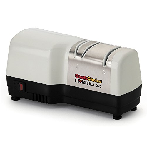 Chef'sChoice 220 Hybrid Diamond Hone Knife Sharpener, 2-Stage, White