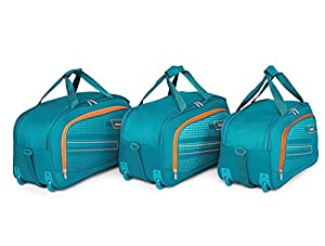 """Priority ARC Set of 3 Aqua Blue Polyester 2 Wheel Duffle Bag 
