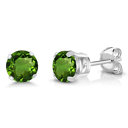 Chrome Plated Post (Sterling Silver Green Chrome Diopside Stud Earrings (1.00 cttw, 5MM Round Cut))