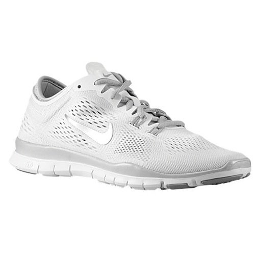 Nike Womens Free 5.0 TR Fit 4 Print Cross Training Shoes (7.5, White/Mtllc Silver/Mtllc Slvr)