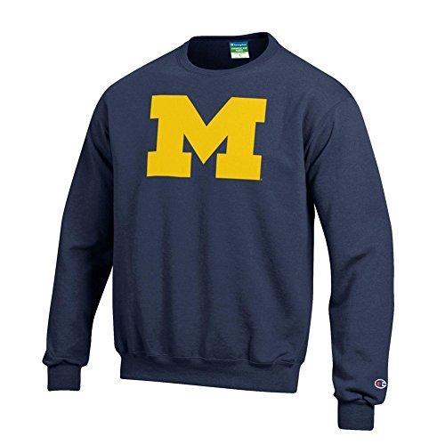 Elite Fan Shop Michigan Wolverines Crewneck Sweatshirt Navy - L