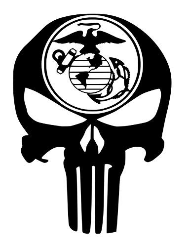 - UR Impressions MBlk Mirrored Marine Eagle Globe Anchor Punisher Skull Decal Vinyl Sticker Graphics for Car Truck SUV Van Wall Window Laptop|Matte Black|5.5 X 4.3 Inch|URI685-MB