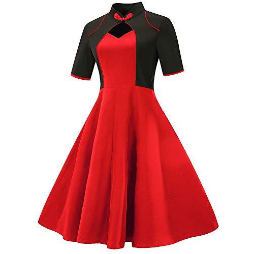 Girocollo Cerimonia Abito Donna Swing Elegante Flare Rosso Vestito Partito Aperte Serata Retro Dragon868 Busto hxsrtoBdQC