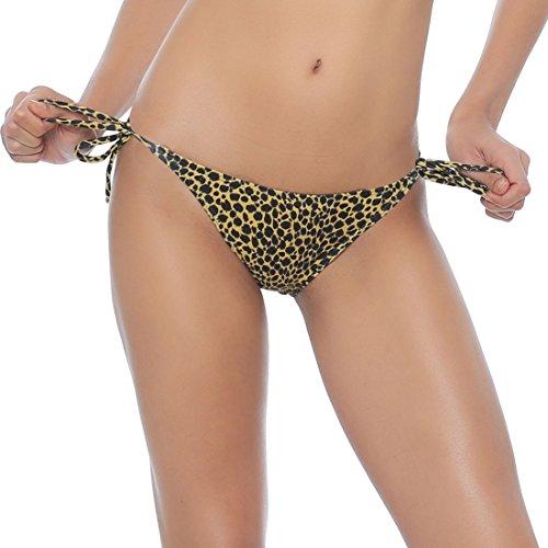 Leopard Tie Side Bikini (Milis Women's Sexy Brazilian Tie Side Bikini Bottom (l, Leopard))