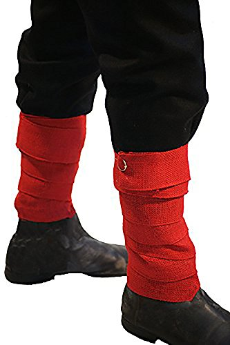 [VIKING-MEDIEVAL-SCA-RE ENACTMENT-LARP BATTLE READY-RED Viking Puttees-Leg Wraps complete with metal] (Larp Costumes Uk)