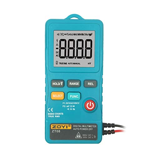 Belloc 2019 Digital Multimeter, Counts Volt Meter Manual and Auto Ranging; Measures Voltage Tester, Current, Resistance, Continuity, Frequency; Tests Diodes, Transistors, Temperature