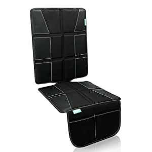 Glangels Seat Protector for Baby Child Car Seat-Enhanced Padded Booster Seat Pad for Vehicles- Extra Large Storage Pocket (Black)